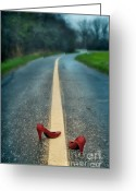 Red Shoes Greeting Cards - Red Shoes On Road Greeting Card by Jill Battaglia