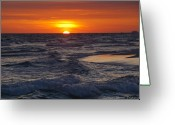 Grayton Beach Greeting Cards - Red Skies At Night Greeting Card by Charles Warren