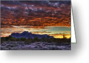 The Supes Greeting Cards - Red Skies Sunrise  Greeting Card by Saija  Lehtonen