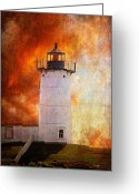 Nubble Greeting Cards - Red Sky At Morning - Nubble Lighthouse Greeting Card by Lois Bryan
