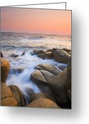 Waves Greeting Cards - Red Sky At Morning Greeting Card by Mike  Dawson