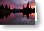 Sunset Greeting Cards - Red Sky at Night Greeting Card by Mike  Dawson