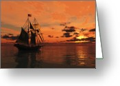 Sailing Ships Greeting Cards - Red Sky at Night Greeting Card by Timothy McPherson