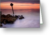 Jetty Greeting Cards - Red Sky Caution Greeting Card by Mike  Dawson