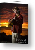 David Lade Greeting Cards - Red sky guitarist Greeting Card by David Lade