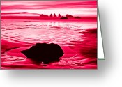 Oregon Wildlife Digital Art Greeting Cards - RED SKY in Morning Sailor Take Warning Greeting Card by Nadine and Bob Johnston