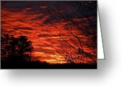 The Berkshires Greeting Cards - Red Sky in the Berkshires Greeting Card by Bonni Belle Winter