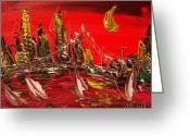 Flower Photography Painting Greeting Cards - Red Sky Manhattan Greeting Card by Mark Kazav