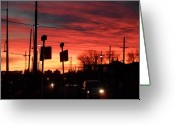 Mark Lehar Greeting Cards - Red Sky Morning Greeting Card by Mark Lehar