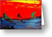 Flower Photography Painting Greeting Cards - Red Sky Seascape Greeting Card by Mark Kazav