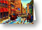 Resto Bars Greeting Cards - Red Sled In The Old City Greeting Card by Carole Spandau