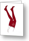 Girls Drawings Greeting Cards - Red Socks Greeting Card by Frank Tschakert