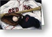 Baseball Cap Greeting Cards - Red Sox number nine Greeting Card by Jack Skinner
