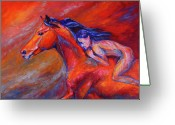 Equines Painting Greeting Cards - Red Spirit Greeting Card by Diane Williams