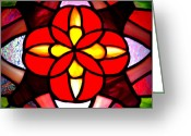 Star Glass Art Greeting Cards - Red Stained Glass Greeting Card by LeeAnn McLaneGoetz McLaneGoetzStudioLLCcom