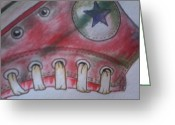 All Star Drawings Greeting Cards - Red Star Greeting Card by Anna Cas