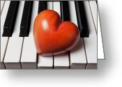 Composing Greeting Cards - Red stone heart on piano keys Greeting Card by Garry Gay