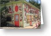 Photographs With Red. Greeting Cards - Red Stuff Building  Greeting Card by Rebecca Korpita