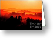 Appalachian Mountains Greeting Cards - Red Sunrise Greeting Card by Thomas R Fletcher
