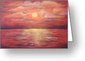 Landscape Posters Painting Greeting Cards - Red Sunset Greeting Card by Bozena Zajaczkowska