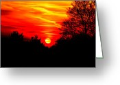 Evening Light Greeting Cards - Red sunset Greeting Card by Jasna Buncic