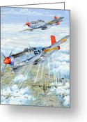 War Greeting Cards - Red Tail 61 Greeting Card by Charles Taylor