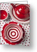 Plates Greeting Cards - Red Teapot Greeting Card by Garry Gay