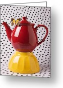 Kettle Greeting Cards - Red teapot with butterfly Greeting Card by Garry Gay
