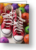 Sneakers Greeting Cards - Red tennis shoes and balls Greeting Card by Garry Gay