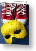 Masks Greeting Cards - Red Tennis Shoes and Mask Greeting Card by Garry Gay