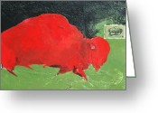 The American Buffalo Painting Greeting Cards - Red Thunder Greeting Card by Bert Seabourn