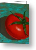 Vegetables Pastels Greeting Cards - Red Tomato Greeting Card by Xenia Sease