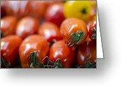 Reds Greeting Cards - Red Tomatoes at the Market Greeting Card by Heather Applegate