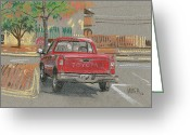 Red Pastels Greeting Cards - Red Toyota Greeting Card by Donald Maier
