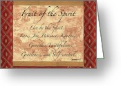 Joy Greeting Cards - Red Traditional Fruit of the Spirit Greeting Card by Debbie DeWitt