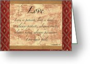 Biblical Greeting Cards - Red Traditional Love Greeting Card by Debbie DeWitt