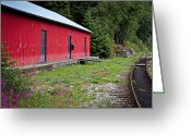 Abandoned Train Greeting Cards - Red Train Station Greeting Card by April Reppucci