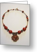 Sparkle Necklace Jewelry Greeting Cards - Red Treasure Greeting Card by Jenna Green