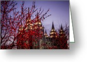 Mormon Temple Photography Greeting Cards - Red Tree Lights Temple Greeting Card by La Rae  Roberts