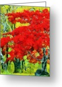 Changing Colors Greeting Cards - Red Tree Greeting Card by Russ Harris