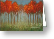 Soft Painting Greeting Cards - Red Trees Greeting Card by Theresa Paden