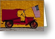 Stripes Greeting Cards - Red truck against yellow wall Greeting Card by Garry Gay