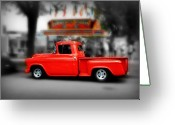 Street Scene Greeting Cards - Red Truck Greeting Card by Perry Webster