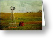 Prairie Sky Art Greeting Cards - Red Truck Red Dirt Greeting Card by Toni Hopper