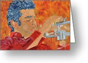 Player Mixed Media Greeting Cards - Red Trumpet Greeting Card by Michael Lee