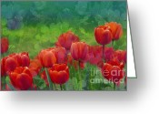 Vibrant Greeting Cards - Red Tulips Greeting Card by Zeana Romanovna
