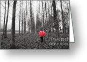 Tree Allee Greeting Cards - Red umbrella in an allee Greeting Card by Mats Silvan