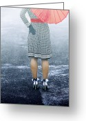 Street Greeting Cards - Red Umbrella Greeting Card by Joana Kruse