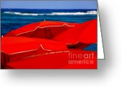 Sun Umbrella Greeting Cards - Red Umbrellas  Greeting Card by Karen Wiles