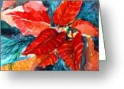 Flower Tree Drawings Greeting Cards - Red Velvet Christmas Greeting Card by Mindy Newman